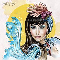 ZODIACA DE AQUÁRIO - Ilustra inspirada na beleza brasileira de Sabrina Sato #zodiacas #higgocabral #apresentadora #brasil #aquariana