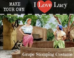 I Love Lucy Grape Stomping Costume #Halloween #costumes #diy