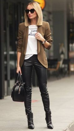 Black leather leggings and beige blazer