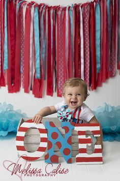Melissa Calise Photography (First Birthday Baby Boy 1st One Red Blue Dr. Seuss Cat in the Hat Photoshoot Posing Ideas)