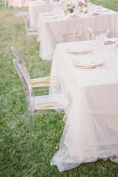 Tulle Overlay is a great way to create some extra movement for your table linens. They almost look like a compliment to a wedding dress. I love this look.
