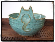 Yarn Bowl with Cute Cat in Turquoise by misunrie by misunrie, $42.00