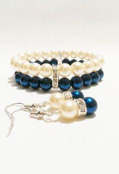Navy Pearl Wedding Jewelry \/ Bracelet and by VickysLittleSecrets $14.50