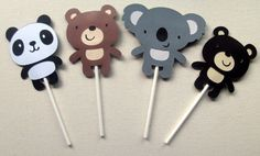 Bear Cupcake Toppers Jungle/Zoo/Forest set of 12 by ThePaigeSpot, $12.00