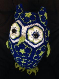Handmade crotchet owl using african flower motif...
