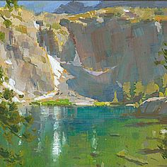 Mike Hernandez North Forks Lakes 6x6 gouache