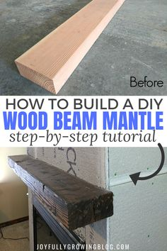 Learn how to build a DIY wood beam mantle like a pro with this easy DIY tutorial! These tips for distressing wood are so good! Add a distressed wood beam mantel to your fireplace this year for a rustic farmhouse style home. Distressed Fireplace, Rustic Mantle, Diy Mantel, Rustic Fireplaces, Farmhouse Fireplace, Rustic Farmhouse, Farmhouse Style, Mantle Ideas, Fireplace Ideas