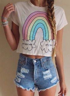 Rainbow half tee