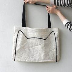 My original charcoal kitty drawing, hand-screened onto an over-sized tote bag…