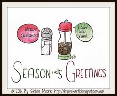"""'Season-ing's Greetings'                    ©     2016 By Shiloh Moore   8x10"""" Pitt Pen and Watercolour on Paper     Products with this i..."""
