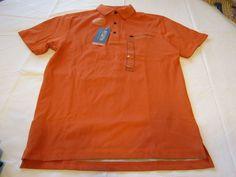 Mens Field & Stream sunset orange SAFKS0862 UPF 30 short sleeve polo S shirt NWT #FieldStream #PoloRugby