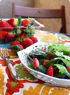 The Comfort of Cooking » Strawberry and Mixed Green Salad with Poppy Seed Vinaigrette