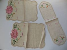 Lotus Flower Linen Doily Set of 3 Hand Embroidered and