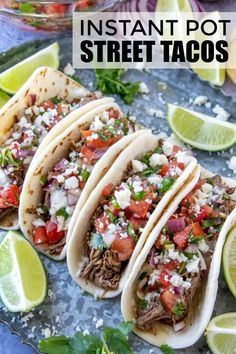 Instant Pot Street Tacos – A Quick and Flavorful Weeknight Meal. Instant Pot Street Tacos – A Quick and Flavorful Weeknight Meal.,The Busy Mama's Go-To Recipes Easy, tender and delicious these Instant Pot Street. Best Instant Pot Recipe, Instant Pot Dinner Recipes, Side Dish Recipes, Quick Food Recipes, Easy Recipes For Two, Instant Pot Meals, Delicious Recipes, Recipes Dinner, Healthy Recipes