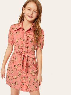 To find out about the Girls Button Up Floral Print Dress With Belt at SHEIN, part of our latest Girls Dresses ready to shop online today! Girls Fashion Clothes, Little Girl Fashion, Kids Fashion, Fashion Outfits, Moda Junior, Natural Clothing, Little Girl Dresses, Girls Dresses Size 8, Kind Mode
