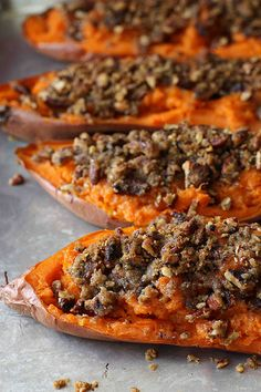 Twice-Baked Sweet Potato (Yam) Recipe with Chipotle Pecan Streusel sweet potato recipes Thanksgiving Recipes, Holiday Recipes, Great Recipes, Favorite Recipes, Thanksgiving Baking, Thanksgiving 2013, Holiday Meals, Recipe Ideas, Dinner Recipes