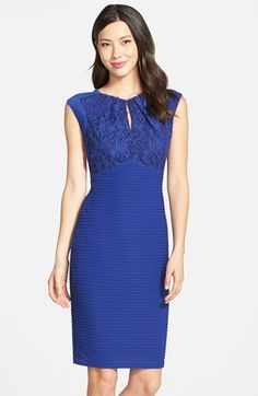 Gabby Skye Lace & Pleat Sheath Dress available at #Nordstrom