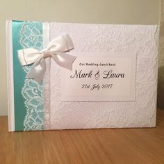 Turquoise ribbon guestbook  #wedding #handmadehour #craft  #wedding #brides #weddinginspiration #weddingday #guestbook #lace #ribbon #diy #vintage #classic #shabbychic # #bespoke #unique #individual #crafty #craft #weddingday #love #personalised #engaged #gettingmarried #newlyengaged