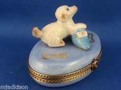 Labrador Retriever Puppy with Slipper authentic LIMOGES box