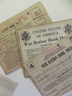 1944 WWII Ration Books 1 2 3 and 4.  And a by SongSparrowTreasures, $15.00 Us History, American History, What The World, Military History, World War Ii, Book 1, Wwii, The Past, Project 3