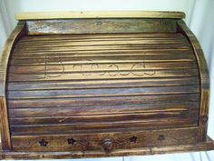 Vintage Wooden Bread Box Roll Door by VintageRehomed on Etsy, $49.00
