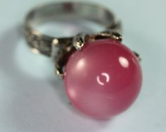 Pink Moonglow Ring Adjustable Silver Tone Band Vintage