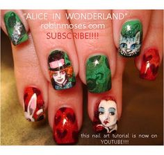 alice in wonderland red queen and mad hatter nail art nails  www.youtube.com/watch?v=nocbncfWcWA