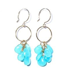Briolette Loop Earrings, Chalcedony