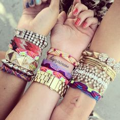 "Arm Candy This summer is all about the ""arm swag. Love Bracelets, Friendship Bracelets, Bangles, Layering Bracelets, Colorful Bracelets, Stacking Bracelets, Summer Bracelets, Hippie Bracelets, Friendship Tattoos"