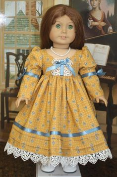 American Girl Style Regency Dress in Sunflower Yellow with Blue American Doll Clothes, Girl Doll Clothes, Girl Dolls, Ag Dolls, Cute Dresses, Flower Girl Dresses, Doll Dresses, Vintage Outfits, Vintage Fashion