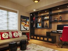 Asian home office by Arnold Schulman Design Group.  I love this wall unit and all of the furnishings.