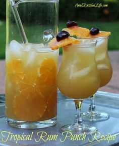 Tropical Rum Punch Recipe | This Tropical Rum Punch Recipe is delicious, cool and refreshing. The rum punch combines the flavors of rum, brandy, and fruit juice into a fabulous tropical drink! @annsentitledlif