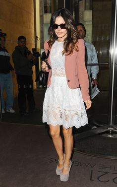 Who made Rachel Bilson s pink jacket, white lace dress, boots, and black  handbag that she wore in New York on October Sunglasses – Ray Ban Purse –  Chanel ... 6d1718dec0
