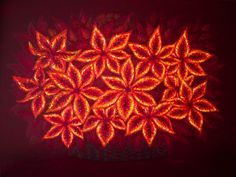 """Glimmering Flowers"" Elena Rudinsky. Creative painting of glowing flowers seen through an imaginary filter. Oil on canvas, 60 x 80 cm."