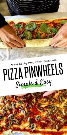 Full of your favorite pizza toppings, pizza pinwheels are made with oil-free dough. Rolled into bite-sized treats, these pizza pinwheels are easy to make and disappear from the plate in minutes. My kids LOVE them!Save it if you don't want to miss. Vegan Appetizers, Vegan Dinner Recipes, Delicious Vegan Recipes, Vegan Snacks, Vegan Dinners, Whole Food Recipes, Diet Recipes, Vegan Party Food, Vegan Food