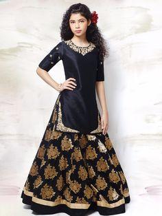 Black Raw Silk Wedding Wear Lehenga Choli