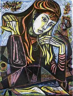 """woman reading- """"Open book"""", woodcut by Irving Amen (American, 1918-2011), 1964,"""
