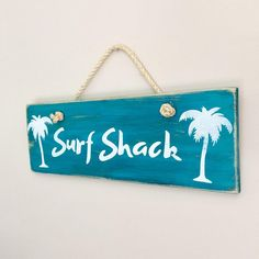 Surf Shack Sign with Palm Trees on Wood  - Rustic Shabby Chic Coastal Home Decor - Beach Decor - Turquiose Blue and White Timber Sign