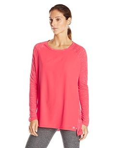 Calvin Klein Performance Womens Mixed Fabric Long Sleeve Tee Goji Berry Large >>> Click image for more details.