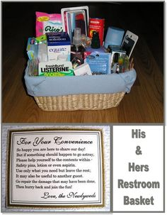 Reception Restroom Basket. Good way to take care of the guests!