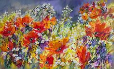 poppies 2 - Painting, cm by Sergey Yatnov - Expressionism, Canvas, Landscape Canvas Frame, Oil On Canvas, Contemporary Artists, Poppies, Original Art, Art Gallery, Fine Art, Landscape, Artwork