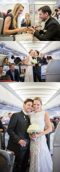 This got engaged and married all in one day, and on an airplane! It was a surprise proposal and a wedding, 30,000 feet in the air. <3