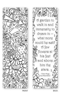 Alternative view 2 of Spring Garden Coloring Bookmarks - Set of 5 Mothers Day Coloring Pages, Cute Coloring Pages, Adult Coloring Pages, Coloring Sheets, Coloring Books, Cool Bookmarks, Printable Designs, Printables, Book Markers