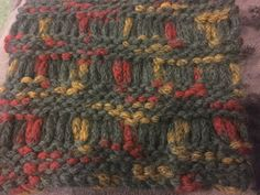 Baby Alpaca Snood  Grey with Red and Yellow by MySimplyMade