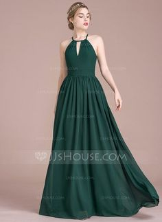 A-Line/Princess Scoop Neck Floor-Length Ruffle Zipper Up Spaghetti Straps Sleeveless No Dark Green Winter Spring Summer Fall General Plus Chiffon Height:5.7ft Bust:33in Waist:24in Hips:34in US 2 / UK 6 / EU 32 Prom Dress