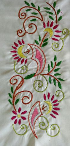 Details Hand Embroidery Patterns Flowers, Hand Embroidery Dress, Hand Embroidery Videos, Flower Embroidery Designs, Hand Embroidery Stitches, Embroidery Fabric, Machine Embroidery Designs, Chain Stitch Embroidery, Fabric Flowers