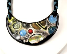 Solar System Ceramic Necklace with Braided Cord 18 inches by surly, $39.00