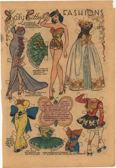 Endlessly stylish Katy Keene Butterfly Fashions:  In the 1950's my friend and I spent countless hours designing clothes for our Katy Keene paper dolls.  We filled  empty shoe boxes with our creations.  Nice memories.