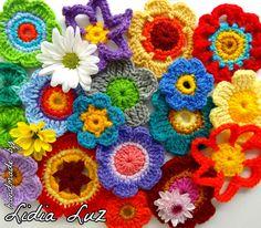 Flowers by Lidia Luz flores al crochet color