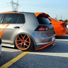 VW grey and orange slammed tucked wheels